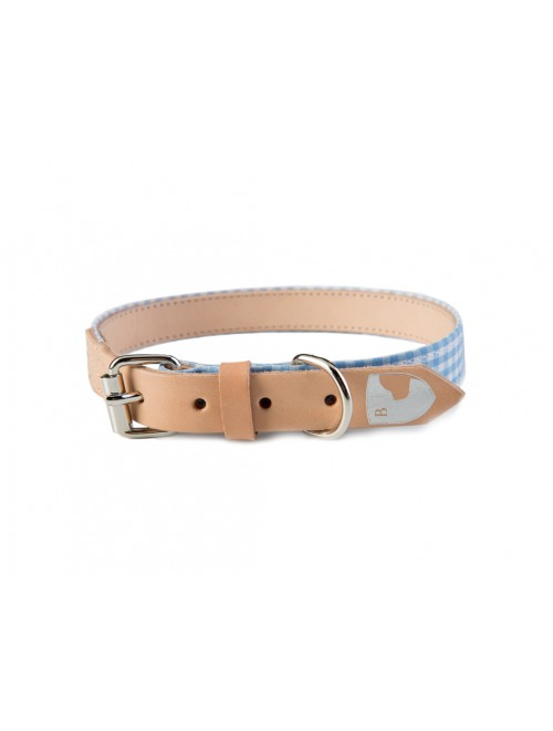 Vichy baby blue dog collar