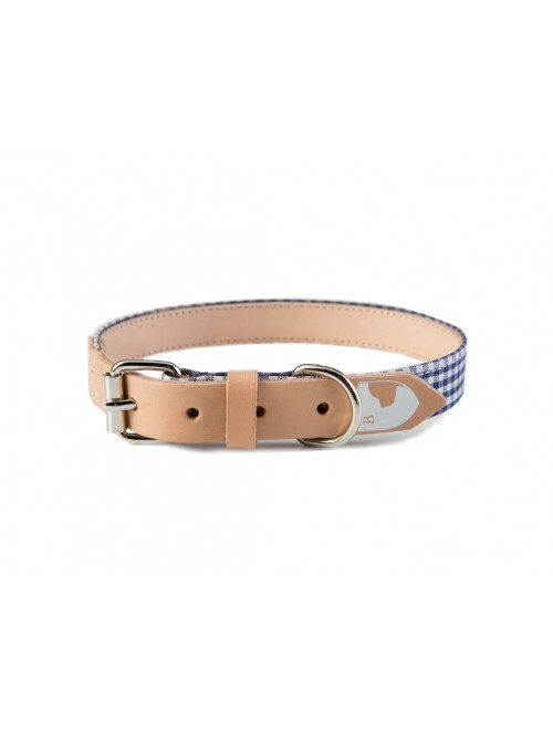 Vichy navy dog collar