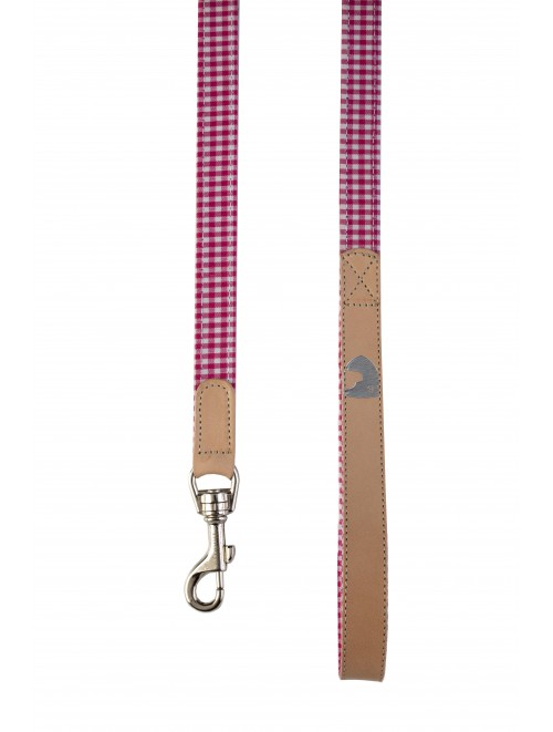Vichy Fuchsia dog lead